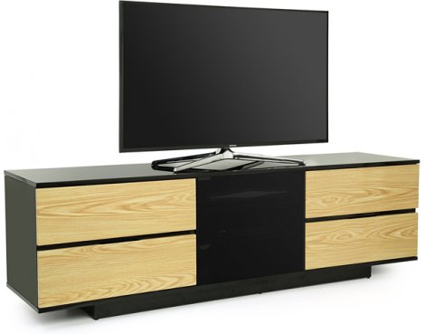 "MDA Avitus Ultra Gloss Black and Oak TV Cabinet For 65"" TV\'s"