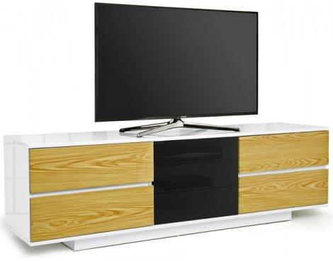 """MDA Avitus Ultra Gloss White and Oak TV Cabinet For 65\"""" TV\'s"""
