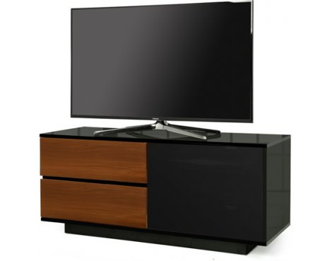 "MDA Gallus Ultra Gloss Black and Walnut TV Cabinet For 55"" TV\'s"