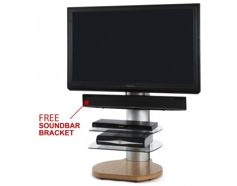 Origin II S4 Oak Cantilever TV Stand - With Soundbar Bracket