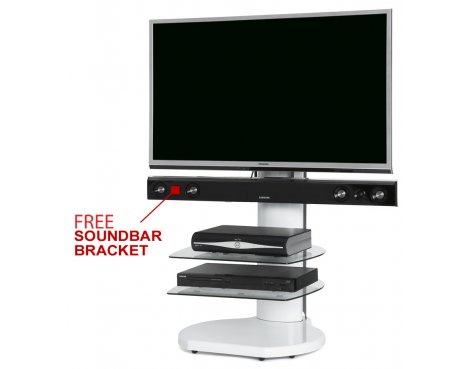 Origin II S4 White Cantilever TV Stand - With Soundbar Bracket