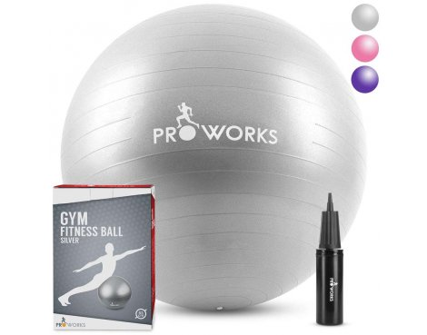 Proworks Anti-Burst Exercise Ball 65cm Heavy Duty With Pump In Silver