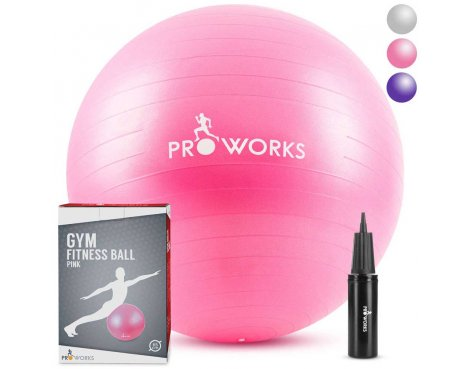 Proworks Anti-Burst Exercise Ball 65cm Heavy Duty With Pump In Pink