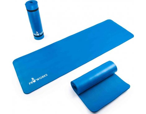 Proworks Large 10mm Thick Padded Yoga Mat With Carry Handle - Blue