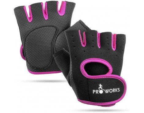 ProWorks Women\'s Padded Grip Black Fingerless Gym Gloves - Medium