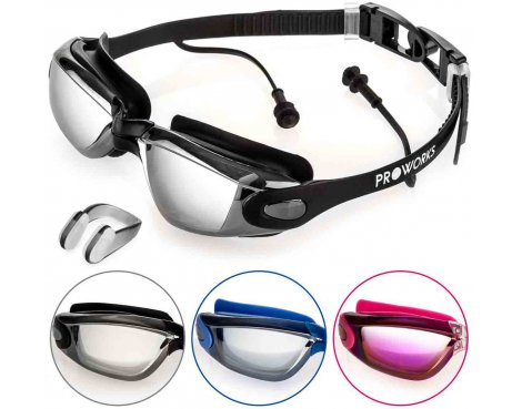 ProWorks Black Anti-Fog Mirrored UV Protection Swimming Goggles