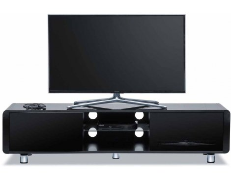 """Centurion Black Capri TV Stand with Remote Friendly Glass for up to 65\"""" TVs"""