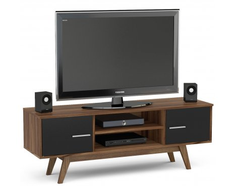 "TNW Shard TV Stand Unit for TVs up to 65"" - Walnut and Black"