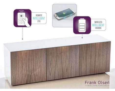 "Frank Olsen White and Walnut TV Stand for up to 70"" TVs"