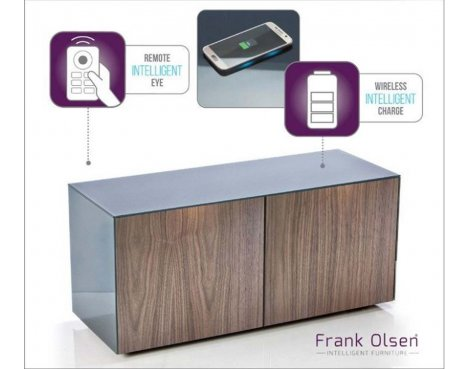 "Frank Olsen Grey and Walnut TV Stand for up to 55"" TVs Fully Assembled"