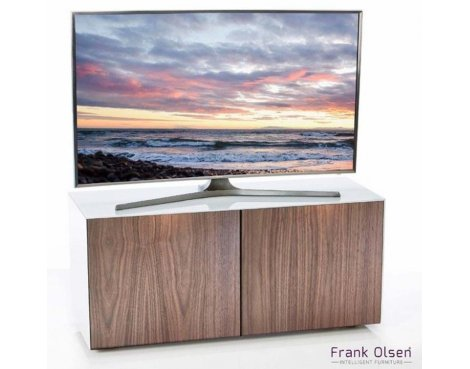 """Frank Olsen White and Walnut TV Stand for up to 55\"""" TVs Fully Assembled"""