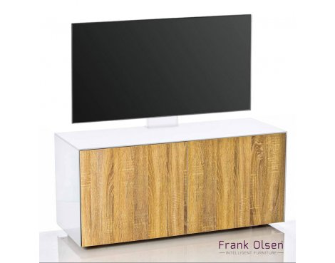 Frank Olsen INTEL1100 White & Oak Cantilever TV Cabinet For TVs Up To 55""