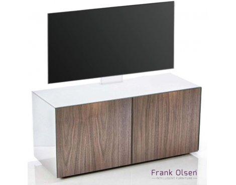 "Frank Olsen INTEL1100 White & Walnut Cantilever TV Cabinet For TVs Up To 55\"""