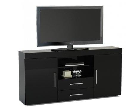 """TNW Carnaby Large High Gloss TV Unit For Up To 65\"""" - Black"""