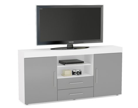 "TNW Carnaby Large High Gloss TV Unit For Up To 65"" - White/Grey"