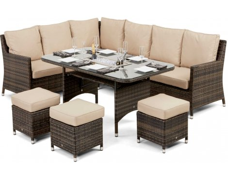Maze Rattan  Venice Corner Sofa Dining Set with Ice Bucket in Brown and Beige