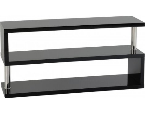 Valufurniture Charisma 3 Shelf TV Unit in Black Gloss/Chrome