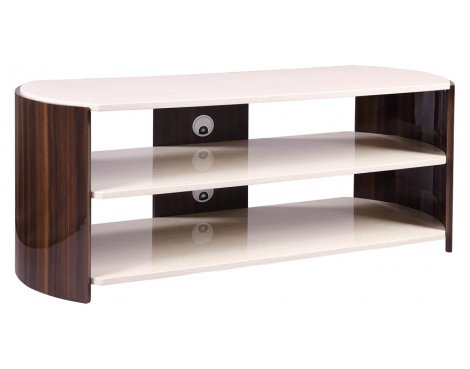 """Jual JF901 Milan Gloss Walnut and Cream TV Stand For Up To 60\"""""""