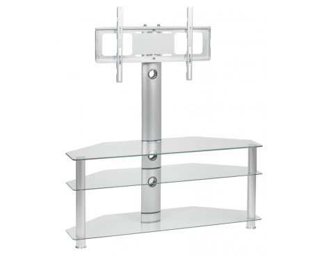 "MMT CC63 Clear Cantilever Corner TV Stand with Swivel for up to 55"" TVs"