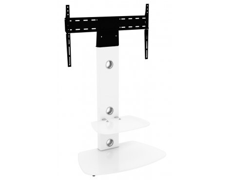 AVF FSL700LUCSWW Lucerne Curved Pedestal TV Stand 700 Satin - White / White Glass
