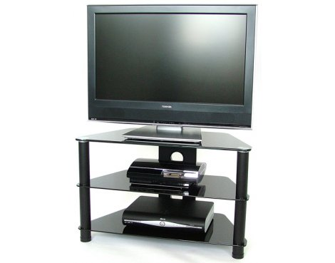 3 Shelf TV stand with Black glass and black legs