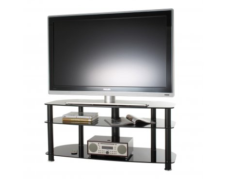 "B GRADE/Box slightly damaged Alphason Black Glass TV Stand for up to 50"" TVs"