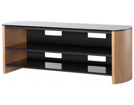 Light Oak Real Wood Veneer TV Stand for screens up to 60""