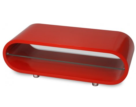 """Ovid Lipstick Red and Clear Glass Stand for TVs up to 42\"""""""