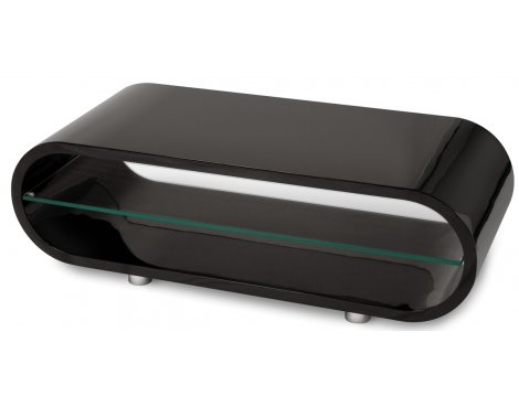 Ovid Piano Black and Clear Glass Stand for TVs up to 42""