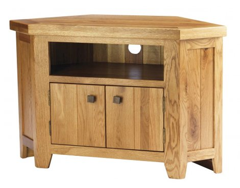 "B GRADE/Box slightly damaged Solid American Oak Corner TV Unit for up to 42"" TVs"