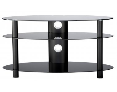 "47"" Curved Glass TV Stand - all black"