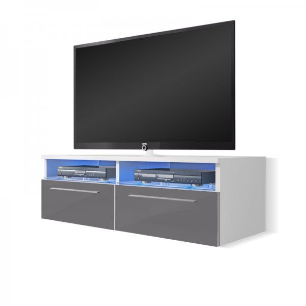 "Selsey Siena 1000  TV Stand for TVs up to 55"" with LED Lighting Kit - White Matt & Grey Gloss"