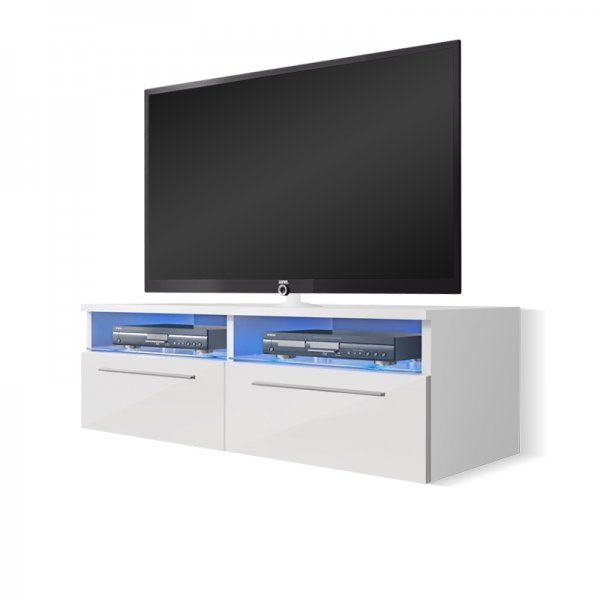 "Selsey Siena 1000  TV Stand for TVs up to 55"" with LED Lighting Kit - White Matt & White Gloss"