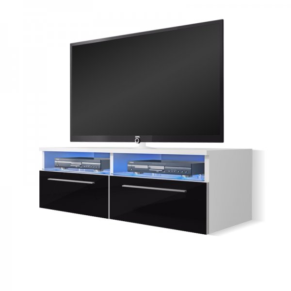 "Selsey Siena 1000  TV Stand for TVs up to 55"" with LED Lighting Kit - White Matt & Black Gloss"