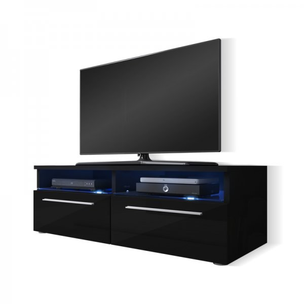 "Selsey Siena 1000  TV Stand for TVs up to 55"" with LED Lighting Kit - Black Matt & Black Gloss"