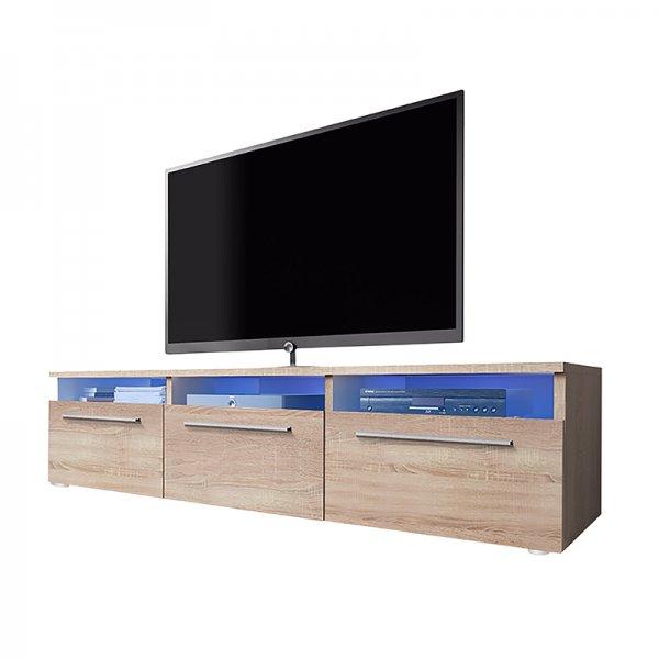 """Selsey Lavello 1500  TV Stand for TVs up to 48\"""" with LED Lighting Kit - Sonoma Oak"""