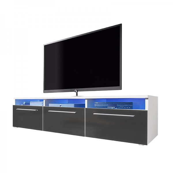 """Selsey Lavello 1500  TV Stand for TVs up to 48\"""" - White Matt & Grey Gloss"""