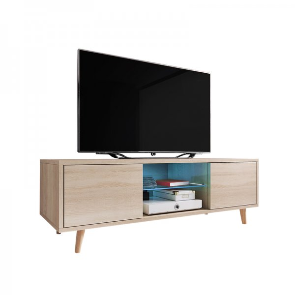 "Selsey Rivano 1400 TV Stand for TVs up to 50"" with LED Lighting Kit - Sonoma Oak"