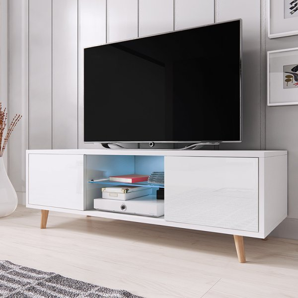 "Selsey Rivano 1400 TV Stand for TVs up to 50"" with LED Lighting Kit - White Matt & White Gloss"