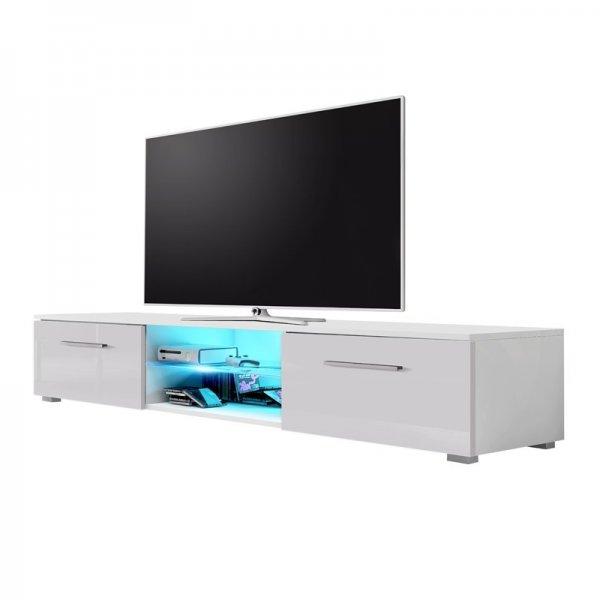 "Selsey Edith 1400  TV Stand for TVs up to 48"" with LED Lighting Kit - White Matt & Grey Gloss"