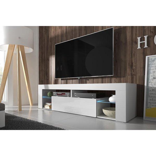"""Selsey Hugo 1400 TV Stand for TVs up to 50\"""" with LED Lighting Kit - White Matt & White Gloss"""