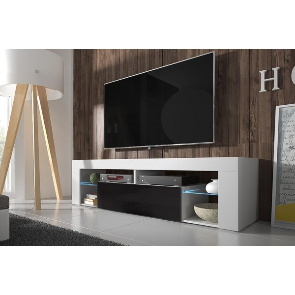 "Selsey Hugo 1400 TV Stand for TVs up to 50"" with LED Lighting Kit - White Matt & Black Gloss"
