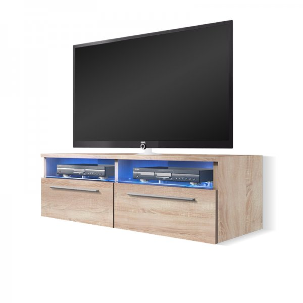 "Selsey Siena 1000  TV Stand for TVs up to 55"" with LED Lighting Kit - Sonoma Oak"