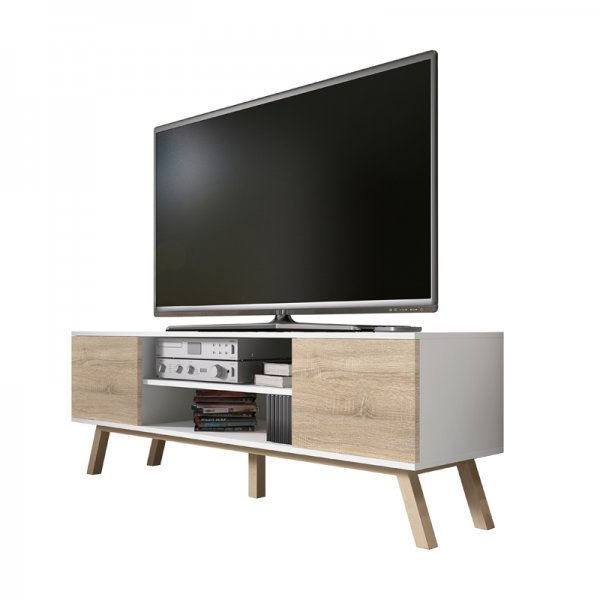 "Selsey Vero Wood 1500 TV Stand for TVs up to 70"" - White Matt & Sonoma Oak"