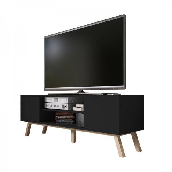 "Selsey Vero Wood 1500 TV Stand for TVs up to 70\"" - Black Matt & Black Gloss"