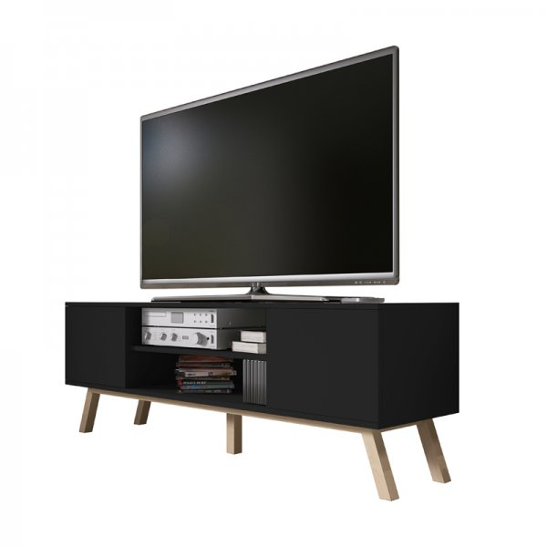 "Selsey Vero Wood 1500 TV Stand for TVs up to 70"" - Black Matt & Black Gloss"