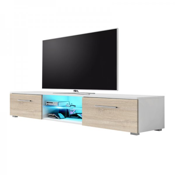 """Selsey Edith 1400  TV Stand for TVs up to 48\"""" with LED Lighting Kit - White Matt & Sonoma Oak"""