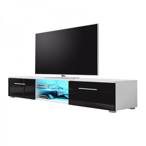 "Selsey Edith 1400  TV Stand for TVs up to 48"" with LED Lighting Kit - White Matt & Black Gloss"