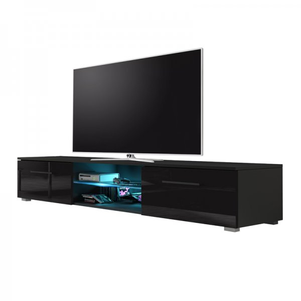 """Selsey Edith 1400  TV Stand for TVs up to 48\"""" with LED Lighting Kit - Black Matt & Black Gloss"""