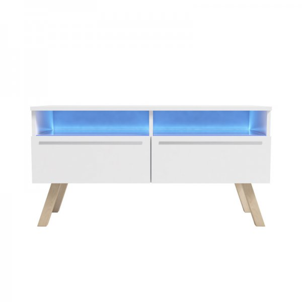 "Selsey Siena Wood 1000 TV Stand for TVs up to 55"" with LED Lighting Kit - White"